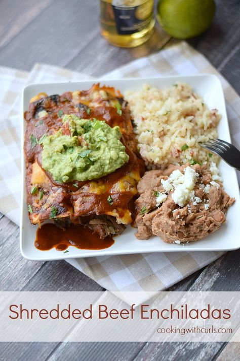 These Shredded Beef Enchiladas from cookingwithcurls.com are just in time for Cinco de Mayo! #recipes #beef