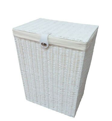 Details About Laundry Basket Medium White Resin Box With Lid Lock