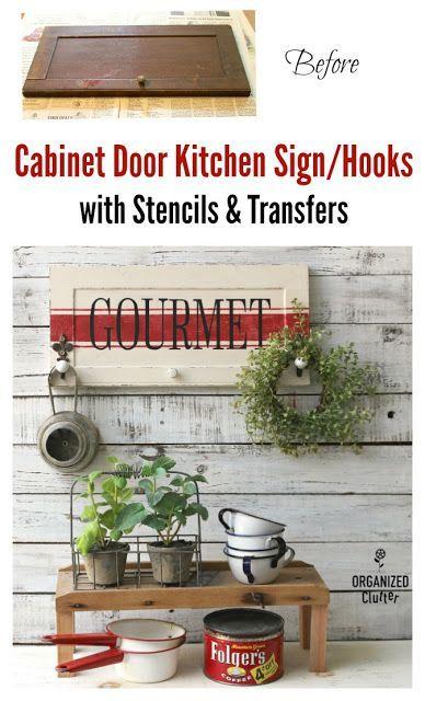 Garage Sale Cabinet Door Gourmet Kitchen Sign Wall Hooks With Images Cabinet Doors Repurposed Kitchen Signs Cabinet Doors