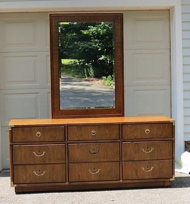 Drexel Heritage Accolade Campaign Vanity Dresser Beveled Glass Mirror Wood  Brass | Dresser, Vanities And Garden Furniture