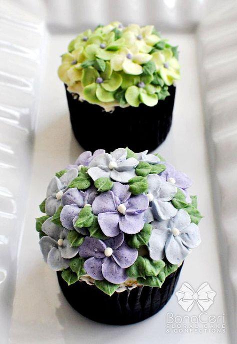 Cupcakes macetas de flores de crema