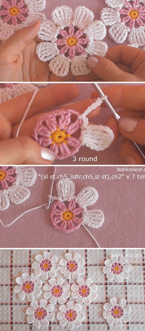 Learn Making Lace Crochet Flower Easily These lace crochet flowers are creative for so many projects. Crocheting flowers is enjoyable and it makes the perfect embellishment for accessories! Crochet Motifs, Crochet Stitches, Free Crochet Flower Patterns, Lace Patterns, Crochet Gifts, Easy Crochet, Fleurs Diy, Crochet Flower Tutorial, Diy Crochet Flowers