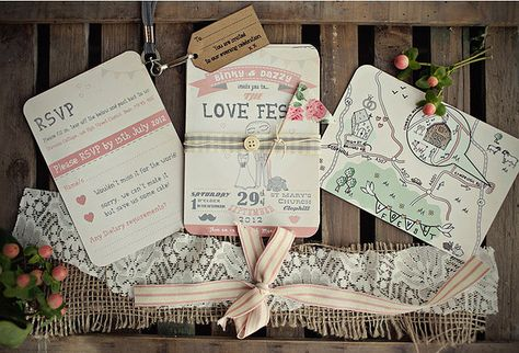 Love Fest Festival Themed Wedding Stationery Design