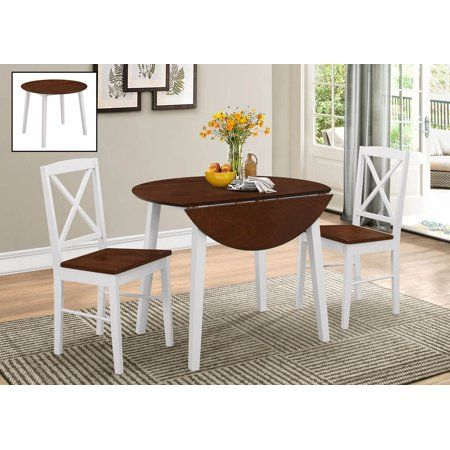 Gaines 3 Piece Kitchen Dining Set Cherry White Wood 39 Round Transitional Drop Leaf Table 2 Crossback Chairs Walmart Com In 2020 White Round Kitchen Table Kitchen Dining Sets Round Kitchen Table