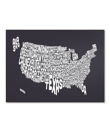 Take A Look At This Charcoal Usa States Text Map Gallery Wrapped Canvas By Michael Tompsett On Zulily Today Map Canvas Art Map Canvas Trademark Fine Art