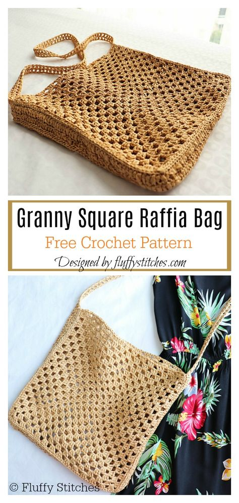 Granny Square Raffia Bag Free Crochet Pattern This Granny Square Crochet Bag is the perfect size for running quick errands around town. The Granny Square Bag Free Crochet Pattern is made entirely of granny squares that are joined together at the end. Free Crochet Bag, Crochet Market Bag, Crochet Tote, Crochet Handbags, Crochet Purses, Granny Square Häkelanleitung, Granny Square Projects, Crochet Granny Squares, Bag Sewing