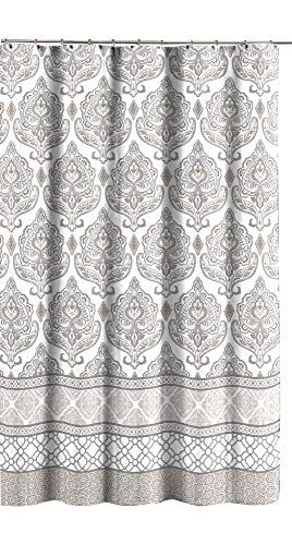 Grey Taupe White Canvas Fabric Shower Curtain Floral Dam Https