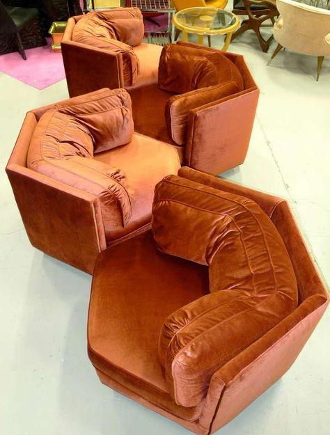 Hexagonal Club Chairs In Dr Pepper Velvet From American Hustle 70 39 S Inspired Modular Furniture