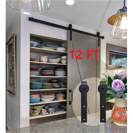 12 Ft Sliding Barn Door Kit Sliding Door Hardware Heavy Duty Double Barn Door Hardware Black Cheap Kitchen Remodel Barn Door Pantry Kitchen Remodel