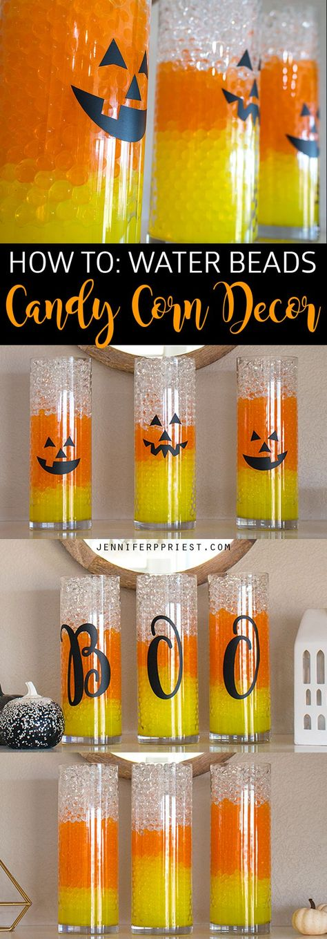 Candy Corn Water Beads Halloween Vase Filler Idea Candy Corn Vases Halloween Decor Is Easy With Gemnique Water Beads See How To Make This Display For Under 15 Ad Halloween Tisch, Halloween Vase, Image Halloween, Halloween Beads, Dollar Store Halloween, Holidays Halloween, Halloween Snacks, Halloween Costumes, Scary Halloween