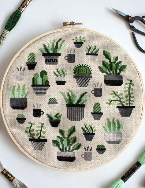 Botany Cross Stitch Kit - Botany Cross Stitch Kit – The Sill Cactus Cross Stitch, Simple Cross Stitch, Cross Stitch Kits, Cross Stitch Designs, Cross Stitch Flowers, Cross Stitch Hoop, Easy Cross Stitch Patterns, Cross Stitch Bookmarks, Mini Cross Stitch
