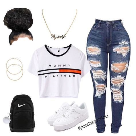 Swag Outfits For Girls, Boujee Outfits, Cute Swag Outfits, Teenage Girl Outfits, Cute Comfy Outfits, Cute Outfits For School, Teen Fashion Outfits, Dope Outfits, Look Fashion