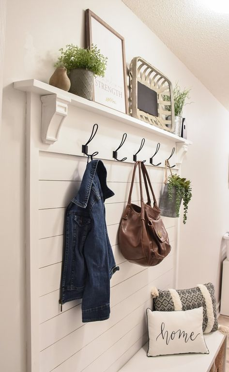 DIY Shiplap Hall Tree with Bench – Laundry Room İdeas 2020 Hall Tree Bench, Kitchen Peninsula, Diy Bench, Bench With Storage, Ship Lap Walls, Entryway Decor, Entryway Hall Tree, Front Hall Decor, Bedroom Decor