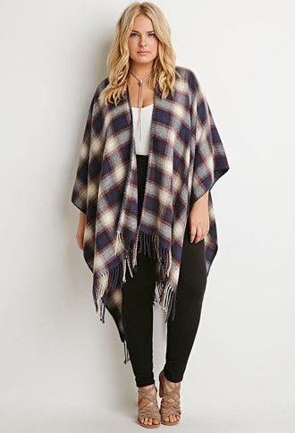 Forever 21 Plus Women's Plus Size Fringed Plaid Poncho - Top Trends Curvy Outfits, Classy Outfits, Plus Size Outfits, Fall Outfits, Plus Size Winter Outfits, Plus Size Winter Clothes, Plus Size Legging Outfits, Plus Size Fall Outfit, Holiday Clothes