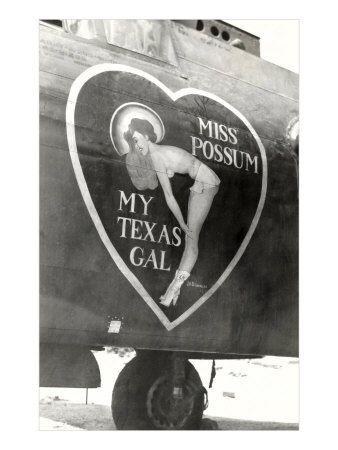 Image detail for -Nose Art, Miss Possum, Pin-Up World War II Airplane Nose Art Poster