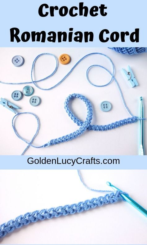 How to Crochet a Romanian Cord - GoldenLucyCrafts - - This beautiful crocheted cord (or crocheted ribbon), also known as crochet Romanian cord, is very popular in Romanian and Irish laces. Also it is widely used in freeform crochet. Crochet Jewelry Patterns, Irish Crochet Patterns, Crochet Accessories, Doily Patterns, Crochet Bracelet Pattern, Dress Patterns, Crochet Cord, Freeform Crochet, Crochet Motif