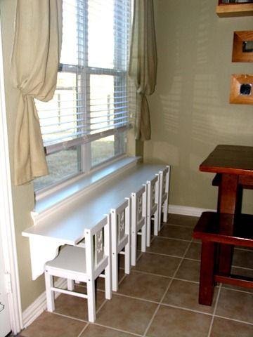 Kids Table - 6 foot Shelf & Shelf Braces  (Home Depot) Kids table - Little Chairs (Ikea) - Cute !!