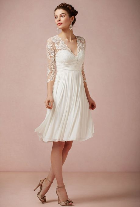 Vintage short white dress with lace white