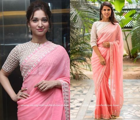 d69359808 Light Pink Saree with White Blouse