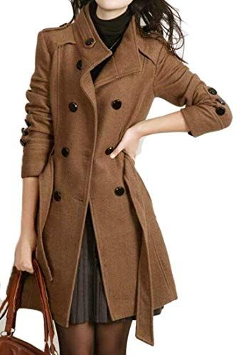 Cromoncent Womens Overcoat Trench Coat Fall//Winter Outerwear One Button Long Pea Coats