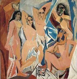 Pablo Picasso, Les Demoiselles d'Avignon, 1907 - L'une des œuvres les plus célèbres de Picasso, constitue à la fois une synthèse du XIXe (l'Olympia de Manet, les scènes de harem composées par Ingres et Delacroix) et une ouverture vigoureuse vers l'art du XXe.siècle. Picasso s'approprie pour les dépasser les innovations de Cézanne et des Fauves. Cette œuvre, qui suscita des réactions passionnées, est le point de départ du cubisme, langage géométrique et multiplicité des points de vue.