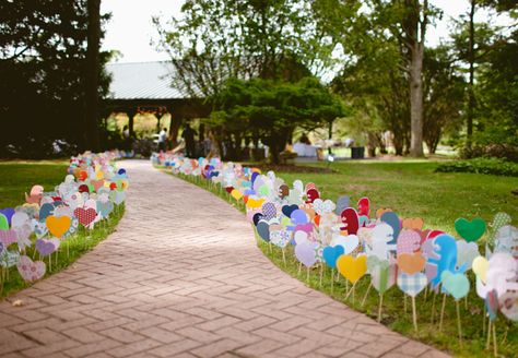 Bring Out Your Inner Kid - Wedding Ideas: Dinosaur and Heart Reception Entrance