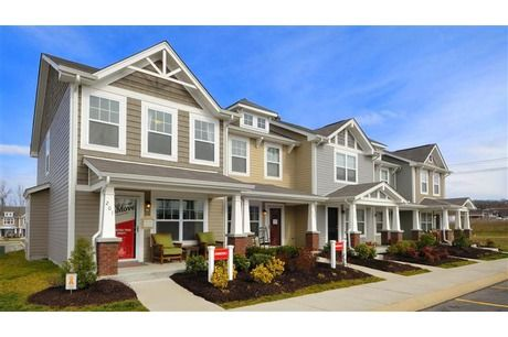 With varied colors, rooflines, trim and porch designs, these townhomes by Beazer Homes offer pleasing diversity in design. Shadow Creek at Providence community. Mount Juliet, TN.