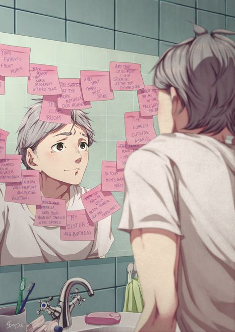 """'Koushi scrunches up his nose when Daichi kisses the tip of it, then gives him a bright smile. Go drink your coffee while it's hot."""" Koushi promises that he will, but it takes a little while, after the front door has. Manga Haikyuu, Sugawara Haikyuu, Daisuga, Haikyuu Funny, Haikyuu Fanart, Haikyuu Ships, Kagehina, Daichi Sawamura, Haikyuu Wallpaper"""