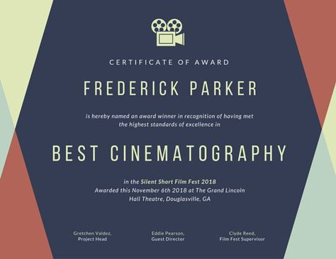 Geometric Film Fest Award Certificate Award Certificate Certificate Templates Certificate