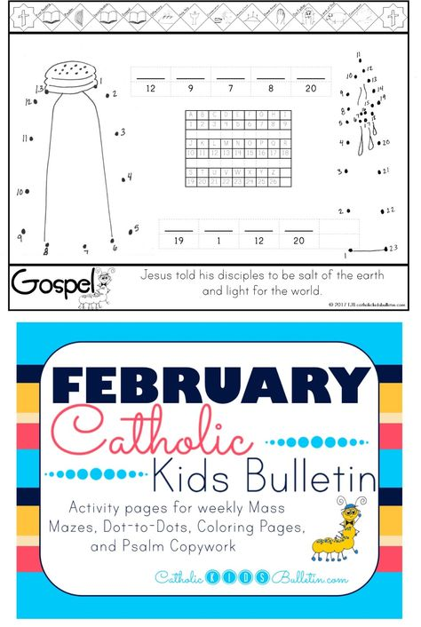 February Catholic Kids Bulletin Bible Activities For Kids