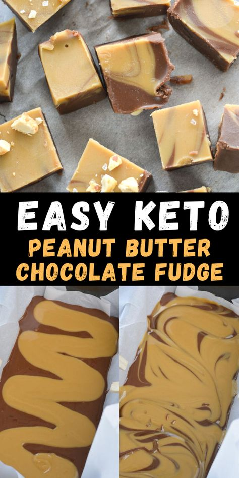 This Low Carb Peanut Butter Chocolate Fudge has about 2 net carbs per slice and is the perfect keto and diabetic-friendly dessert!  #keto #peanutbutter