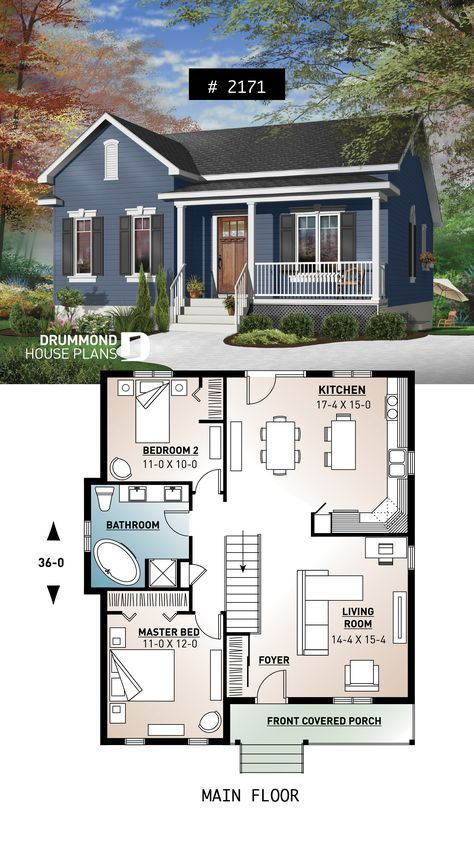 One Story Economical Home With Open Floor Plan Kitchen With Island Small Affordable Homedesign Hous Sims House Plans House Blueprints Drummond House Plans