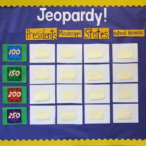 classroom jeopardy, make it an ongoing game on bulletin board - sample jeopardy powerpoint
