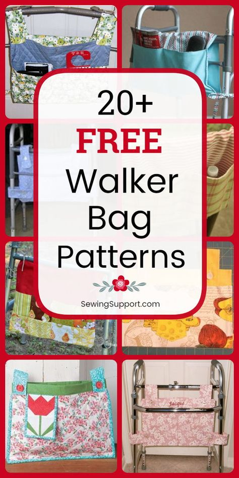 Make walker and wheelchair bags, caddies, & totes with this collection of 22 free walker bag sewing patterns, tutorials, and diy projects. Get instructions for how to make a walker or wheelchair bag. Bag Patterns To Sew, Sewing Patterns Free, Free Sewing, Christmas Sewing Patterns, Sewing Hacks, Sewing Tutorials, Sewing Crafts, Sewing Tips, Bag Tutorials