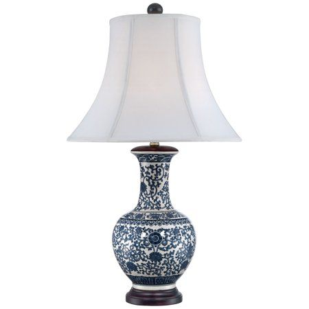 Barnes And Ivy Asian Table Lamp Ceramic Blue Floral Urn White Bell Shade For Living Room Family B Ceramic Table Lamps Traditional Table Lamps Asian Table Lamps