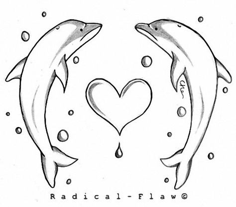 dolphins and heart tattoo design