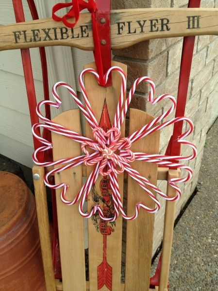 Candy cane heart wreath
