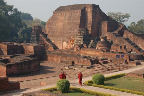 Ruins of Nalanda University in Bihar, India. The site is located about 88 kilometres south east of Patna, and was a religious centre of learning from the fifth century AD to 1197 AD.