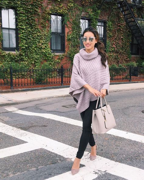 Fall fashion must-have: the cozy poncho sweater! Click the photo for my review of 4 affordable & flattering styles!