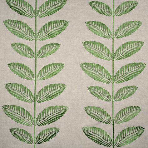 Embroidered Green Leaves Fabric From Fibre Naturelle Cotton And Linen Fabric For Upholstery Botanical Fabric Green Tree Leaves Fabric Green Trees Linen Fabric Cushion Fabric