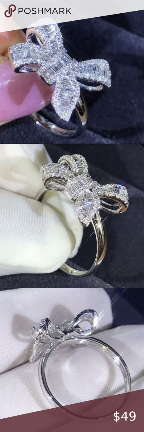 Check out this listing I just found on Poshmark: Silver & white sapphire bow ring size 7 NEW. #shopmycloset #poshmark #shopping #style #pinitforlater #Jewelry