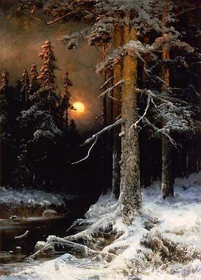 Julius-Klever-Wintry-woodland-landscape-with-full-moon-Oil-Painting-repro
