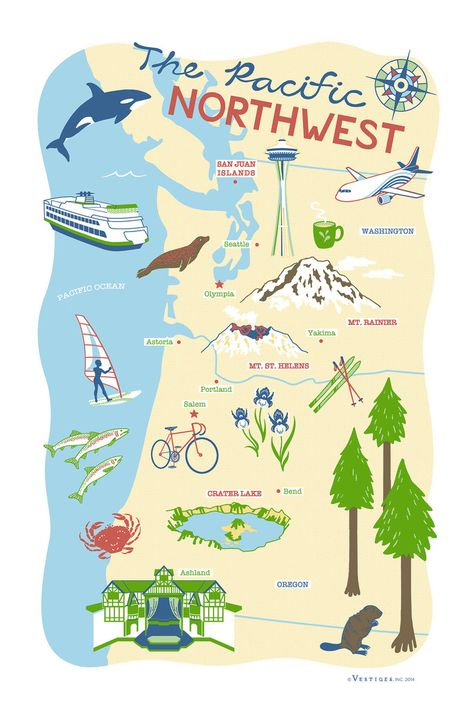 Greetings from the Pacific Northwest! Our new kitchen towel! #Washington #Oregon #kitchen #towels