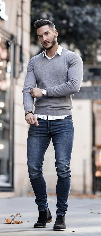 youclement Fall fashion inspiration with a gray v neck