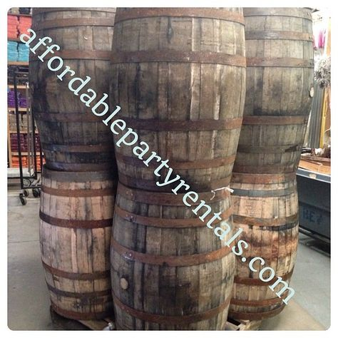 Whiskey or Wine barrelsvwe got them.  www.affordablepartyrentals.com