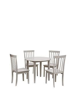 New Sophia 73 8 Cm Round Dining Table 4 Chairs In White Round