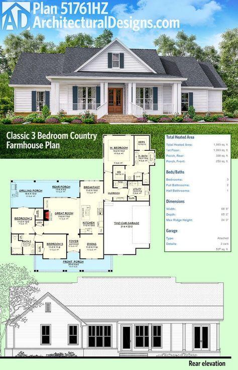 Plan 51761hz Classic 3 Bed Country Farmhouse Plan Architectural Design House Plans Farmhouse Floor Plans Farmhouse Plans