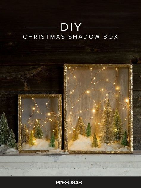 Create an Enchanted Forest With This Shadow Box DIY You don't have to be a crafting queen to whip up charming holiday decorations. This enchanting shadow box DIY reminds us of stargazing on a cold Winter night. Diy Christmas Shadow Box, Noel Christmas, All Things Christmas, Winter Christmas, Christmas Lights, Vintage Christmas, Christmas Trends, Homemade Christmas, Diy Christmas Art