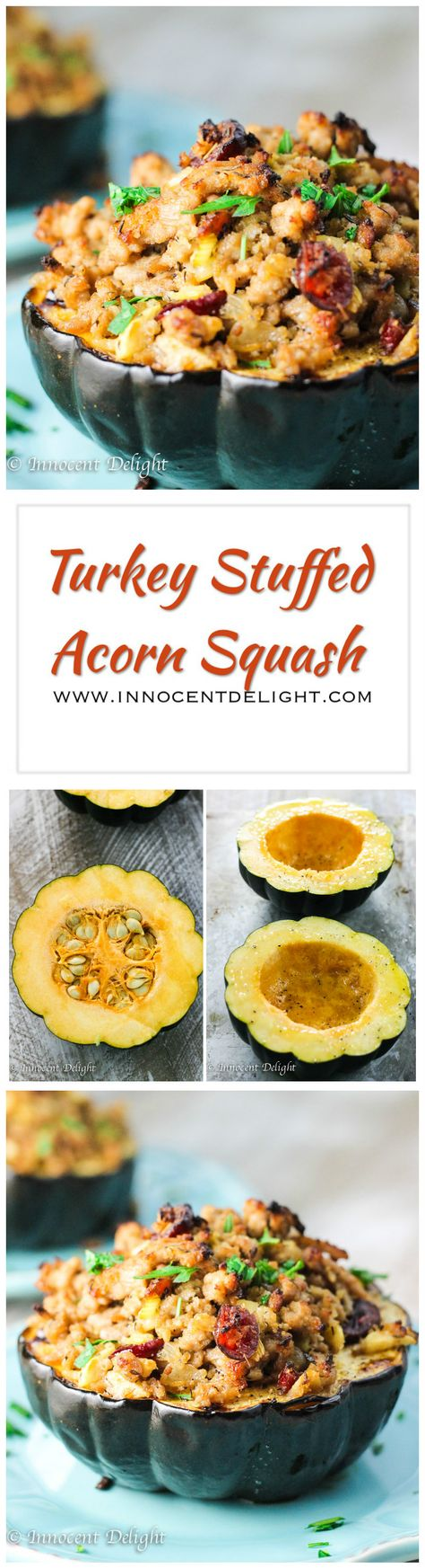 Turkey Stuffed Acorn Squash – it's a Fall on a plate; Turkey with Apples, Cranberries and dried Thyme stuffed in a sweet Acorn Squash makes for irresistible combination of fall flavors.