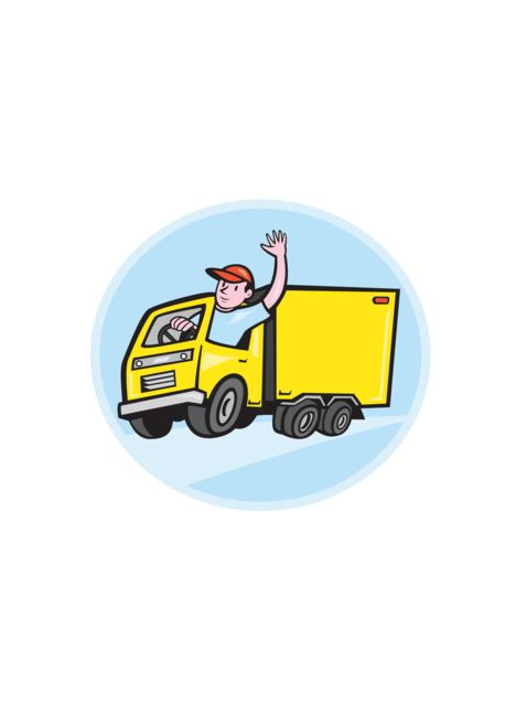 Delivery Truck Driver Waving Cartoon Card Ad Sponsored